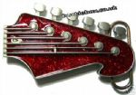 GUITAR HEADSTOCK RED GLITTER Belt Buckle + display stand